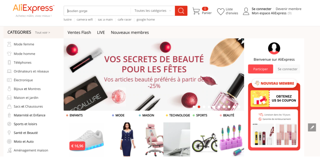 Interface du site AliExpress en français